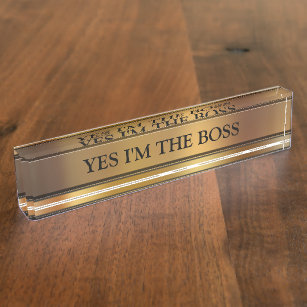 Like A Boss Stylish Faux Wood Desk Office Name Plate Plaque Funny Humor Coworker Bosss Day Gift Novelty Accessory Nameplate