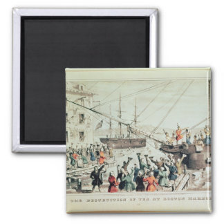 The Boston Tea Party, 1846 Square Magnet
