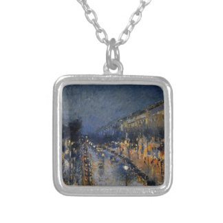 The Boulevard Montmartre at Night by Camille Pissa Silver Plated Necklace