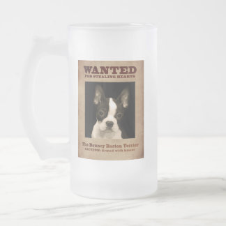 The Bouncy Boston Terrier Frosted Glass Beer Mug