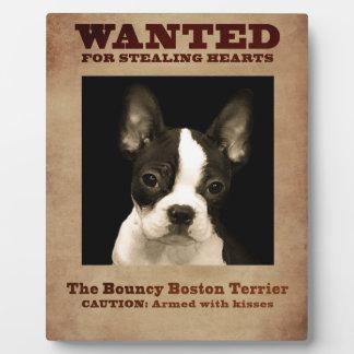 The Bouncy Boston Terrier Plaque
