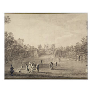 The Bowling Green at Claremont, 1738 (engraving) Print