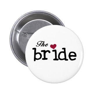 The Bride Black with Red Heart 6 Cm Round Badge