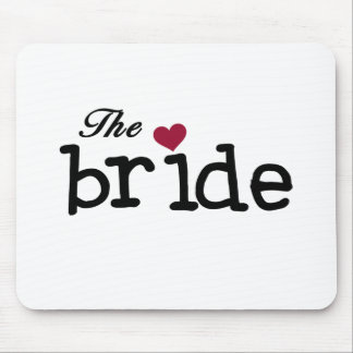 The Bride Black with Red Heart Mouse Pad