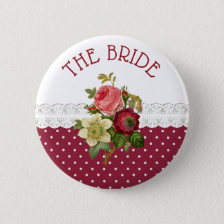 The Bride Burgundy Roses Wedding Button