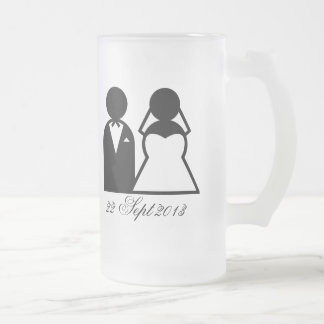 The Bride & Groom Frosted Glass Mug