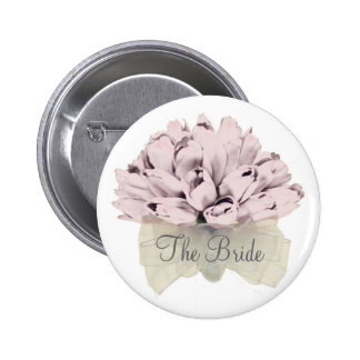 The Bride The Wedding / Pink Flowers Button #09