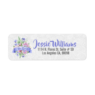 The Bride Typography Colourful Flowers Bouquet Return Address Label