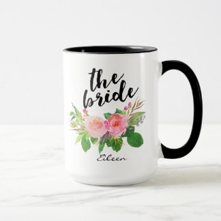 The Bride Watercolor Floral Personalized Mug