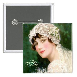 the bride,wedding 15 cm square badge