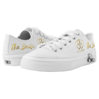 The Bride White and Faux Gold Foil Wedding Day Low Tops