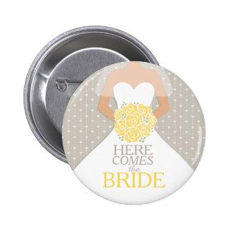 The Bride yellow rehearsal wedding pin button