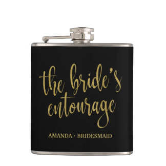 The Bride's Entourage Elegant Calligraphy Flask