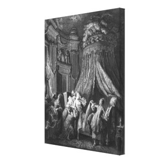 The bride's going-to-bed ceremony stretched canvas print
