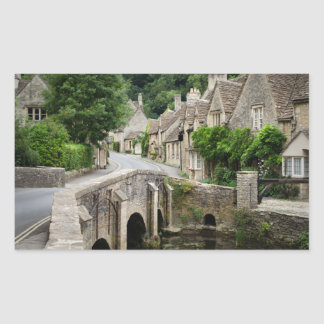 The bridge in Castle Combe, UK rectangle sticker