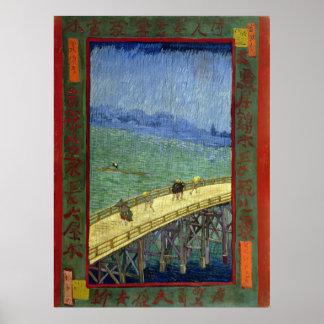 The Bridge in the Rain after Hiroshige Van Gogh Posters