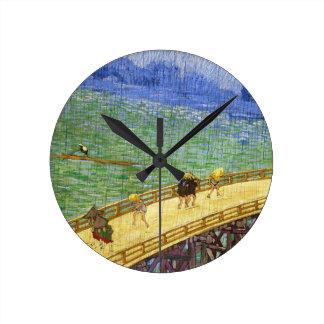 The Bridge in the Rain Vincent van Gogh fine art Clock
