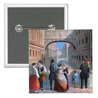 The Bridge of Sighs, Venice, engraved by Brizeghel 15 Cm Square Badge