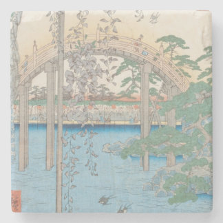The Bridge with Wisteria or Kameido Tenjin Stone Coaster
