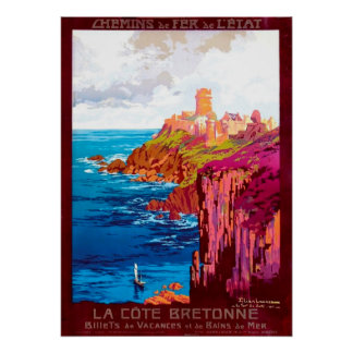 The Brittany Coast Vintage French Travel Poster
