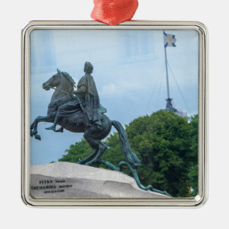 The Bronze Horseman Silver-Colored Square Decoration