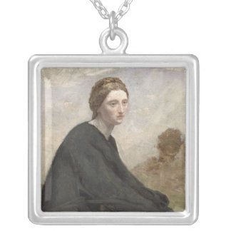 The brooding girl, c.1857 silver plated necklace