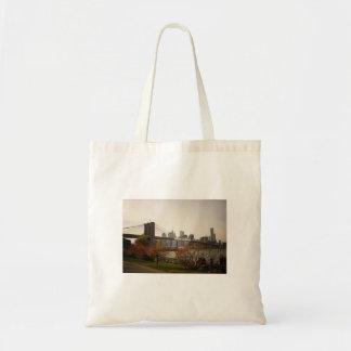 The Brooklyn Bridge and Autumn Trees, NYC Budget Tote Bag