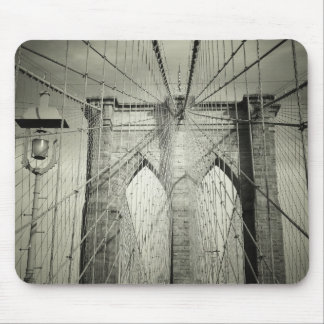 The Brooklyn Bridge in Black and White, NYC Mouse Pad