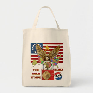 The-Buck-Stops-Here-1 Grocery Tote Bag