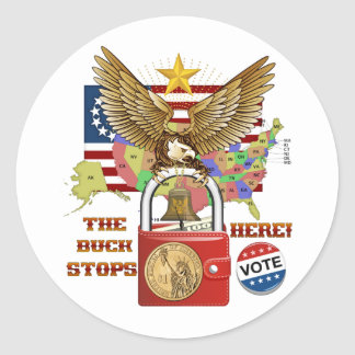 The-Buck-Stops-Here-1A Round Sticker