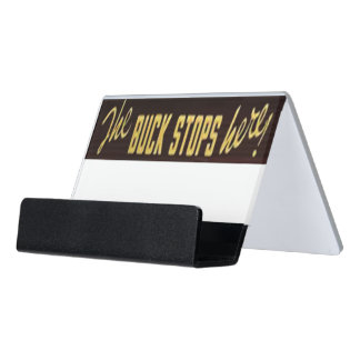 The Buck Stops Here Replica, with dollar coin Desk Business Card Holder