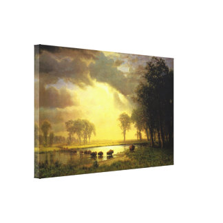 The Buffalo Trail Albert Bierstadt Canvas Print