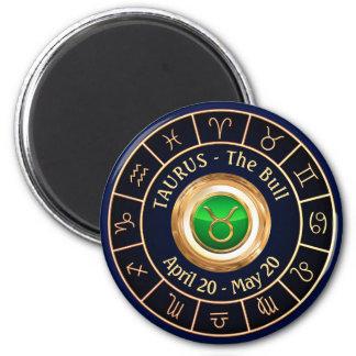 The Bull's Zodiac Sign Glyph 6 Cm Round Magnet