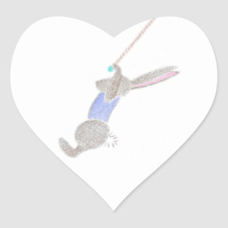 The Bunny On The Flying Trapee Heart Sticker