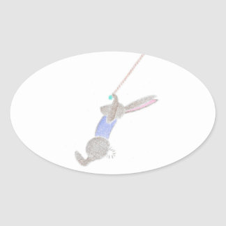 The Bunny On The Flying Trapee Oval Sticker