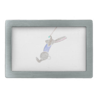 The Bunny On The Flying Trapee Rectangular Belt Buckles