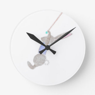 The Bunny On The Flying Trapee Round Clock