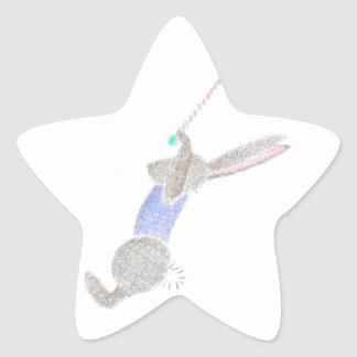 The Bunny On The Flying Trapee Star Sticker