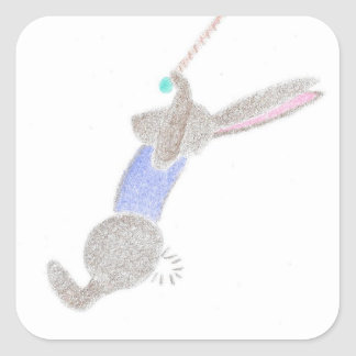 The Bunny On The Flying Trapeze Square Sticker