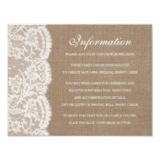 The Burlap & Lace Wedding Collection Detail Cards 11 Cm X 14 Cm Invitation Card