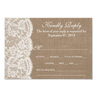 The Burlap & Lace Wedding Collection RSVP Cards 9 Cm X 13 Cm Invitation Card