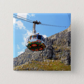 The Cable Car going up Table Mountain in Cape Town 15 Cm Square Badge