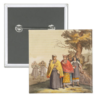The Caciche Indians in Traditional Costumes, Nova 15 Cm Square Badge