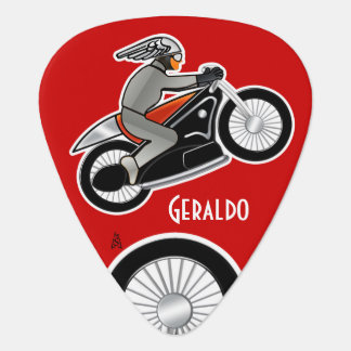 The Cafe Racer on Red (Personalized) Plectrum
