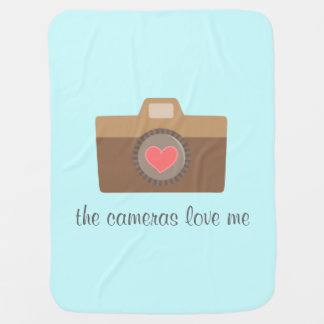 The cameras love me, funny text, for babies baby blanket