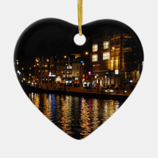 The Canals of Amsterdam at Night Ceramic Heart Decoration