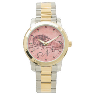 THE CAPE LION LYING DOWN,Antique Pink Red Monogram Watch