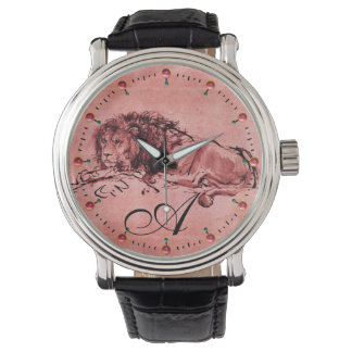 THE CAPE LION LYING DOWN,Antique Red Pink Monogram Watch