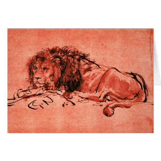 THE CAPE LION LYING DOWN ,Red Black Card