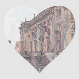 The Capitol in Rome by Rudolf von Alt Heart Sticker
